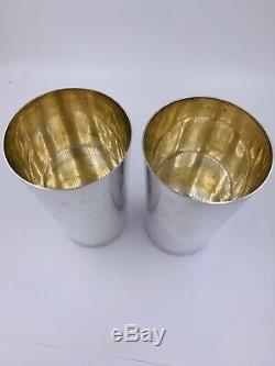 Paire De Tiffany Vintage & Co. Gobelets Lourds En Argent Massif 5 1/4