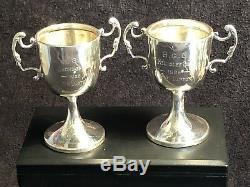 Paire De Trophées Art Déco En Argent Massif D'époque H. G. C