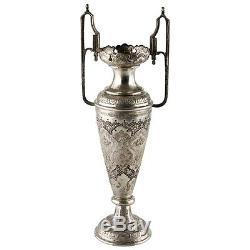Paire De Vases Anciens En Argent Gravé Vtg Persan