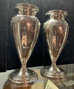 Paire De Vases Argent Sterling Dominick & Haff 7 1/4 Début Des Années 1900 Antique Art Vtg