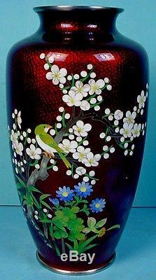 Paire De Vases De Fleurs De Cerisier Vintage En Argent Cloisonné Akasuke Japonais, Argent