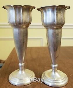 Paire De Vases Signés Vtg Norvégien Vieux MCM Magnus Aase 830s Argent Norvège