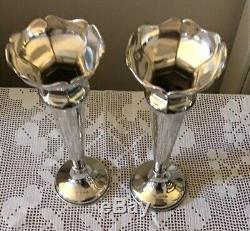 Paire De Vases Vintage En Argent Sterling Trompette 8 3/4 Pouces De Haut __gvirt_np_nns_nnps<__