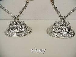 Paire De Vintage Egyptian Sterling Silver Candelabra Dolphins Candlestick Ottoman