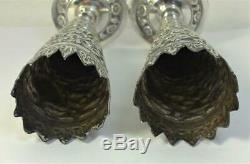 Paire De Vintage En Argent Sterling Bud / Posy Vases (indian Kutch Style) 5.3