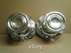 Paire De Vintage Gorham Sterling Silver 740 Poissons Pédétales Nuts/candy/etc. 22 Oz