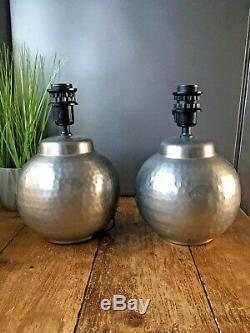 Paire De Vintage Ikea Argent Sphère Lampes De Finition Martelée 14299 Interior Design