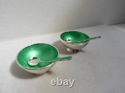 Paire De Vintage Meka Sterling Silver Emerald Green Salt Cellars Avec Cuillères