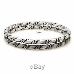 Paire De Vintage Navajo Main Argent Massif 925 Twisted Corde Bracelets Bangle