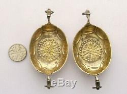 Paire De Vintage Ou D'argent Antique Sels De Drakkars Par David Andersen De La Norvège