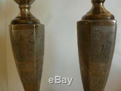 Paire De Vintage Persan 84 Argent Gravé Bougie Main Sticks - 620 Grammes