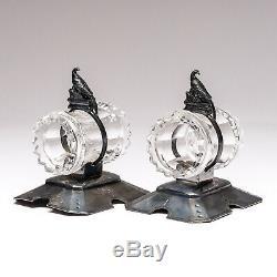 Paire De Vintage Plate Meriden Argent Anneaux Serviette Pheasant & Cristal Modèle 244
