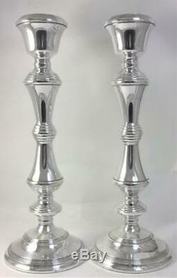 Paire De Vintage Poinçonnés En Argent Sterling Bougeoirs (27.5cm) 1974