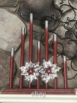 Paire De Vintage Royal Style C7 Gradué 7 Bougie Candolier Red Silver Tips
