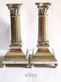Paire De Vintage Sterling Silver925 Hadad Brothers Bougeoirs Corinthiennes De Colonne