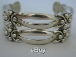 Paire De Vintage Taxco Argent Sterling Impressionnant Bracelets Manchette