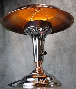 Paire De Vtg 1930 Age Machine Art Déco Chrome Et De Cuivre De Bureau / Lampe De Table Restaurer