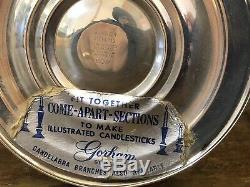 Paire De Vtg Gorham 808 3-light En Argent Sterling Weighted Candélabres Bougeoirs
