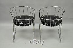 Paire De Vtg Sleek Chrome MID Century Modern Salle À Manger Salon Salon Club Chairs