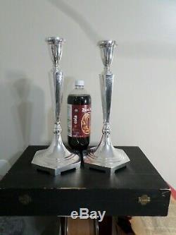 Paire Grand Vintage En Argent Massif Chandeliers, 787 Grammes 25,30 Troy Oz