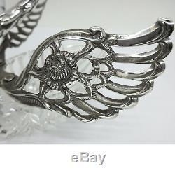 Paire Magnifique De Sel Vintage 835 Crystal Silver Swan Cellars Signé Albo