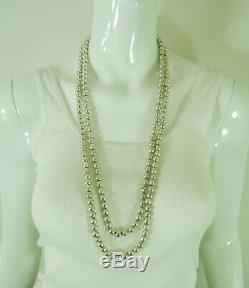 Paire Mexicaine Vintage Colliers D'argent Sterling 7mm Perles 30/33 Pouces 151 Grammes
