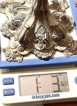 Paire Millésime Plaque D'argent Antique Judaica Chandelier Candelabra Chandeliers