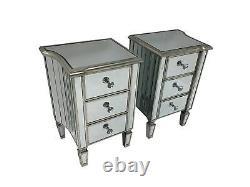 Paire Miroir Tables De Chevet Armoire De Chevet Verre Chambre À Coucher Rangement 3 Tiroirs