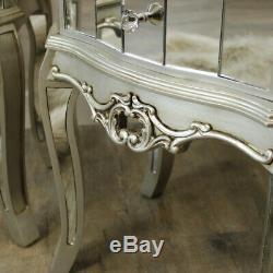Paire Mirrored Lampe De Table De Chevet Vénitienne Chambre En Verre D'argent De Meubles