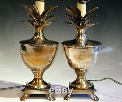 Paire Ou Vintage Antique En Laiton Argenté Lampes Ananas