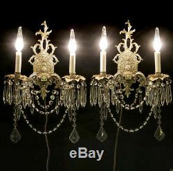 Paire Silver Chrome Sconces Vintage Bronze Laiton Lampe Française Rococo Cristal Espagne