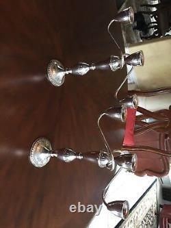 Paire Sterling Vintage De Triple Candélabre
