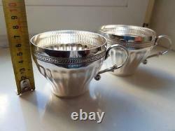 Paire Tasses À Café De Thé Vintage Sterling Silver 925 Silverware Signé 316 Gr