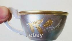 Paire Tea Cup & Saucer Vintage Urss Soviétique Gilt Argent Sterling 875 Eau-forte 116gr