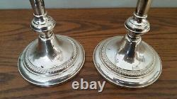 Paire Vintage 10 1/2 Fisher Sterling Silver Weighted Candlesticks #395 Pondérés