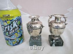 Paire Vintage. 925 Miniature Argent Sterling Vases Figural Grec Clé Motif Nr