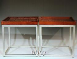 Paire Vintage Aluminium Walnut MID Century Modern MCM Side Tray Tables