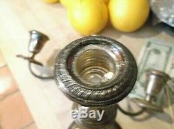 Paire Vintage Alvin-argent Sterling-bougie Bâton Porte-candelabra Weighted