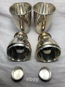 Paire Vintage Anglais Art Déco Style Argent Snowmen Cocktail Bar Boissons Shakers