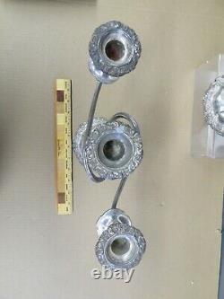 Paire Vintage Antique Candelabra Ornement Argenté 3 Bras Candlestick Lourd