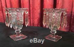 Paire Vintage Antique Heisey Art Du Verre Candelabra Bougeoirs Vases W Prismes