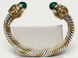 Paire Vintage Argent 925 Malachite Câble Manchette Bracelets Taxco Mexique