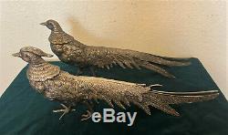 Paire Vintage Art Déco Argent Métal Paons, Faisans, Oiseaux Figurines 12