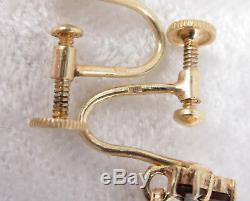 Paire Vintage Boucles D'oreilles Grenat Bohémien Édouardien 900 Argent Or Lavé Vis Dos