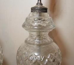 Paire Vintage De 2 Lampes De Table Électriques En Verre Cristal Clair Coupé Argenté Tonique