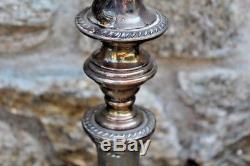 Paire Vintage De 3 Chandeliers Candélabres Large & Orné En Argent Plaqué