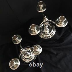 Paire Vintage De Chandeliers Christolfe Silverplate Trois Lumières