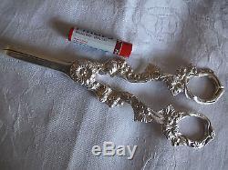 Paire Vintage De Ciseaux A Grain De Raisin Argent Massif Argent Masse 1988 111.5g