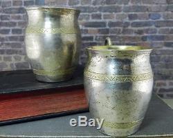 Paire Vintage De Coupes De Kiddouch / Vodka Russes En Argent 84 Avec Poignées Serpentine