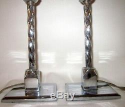Paire Vintage De Lampes Boudoir En Art Deco Argent Tone Inoxydable Argent